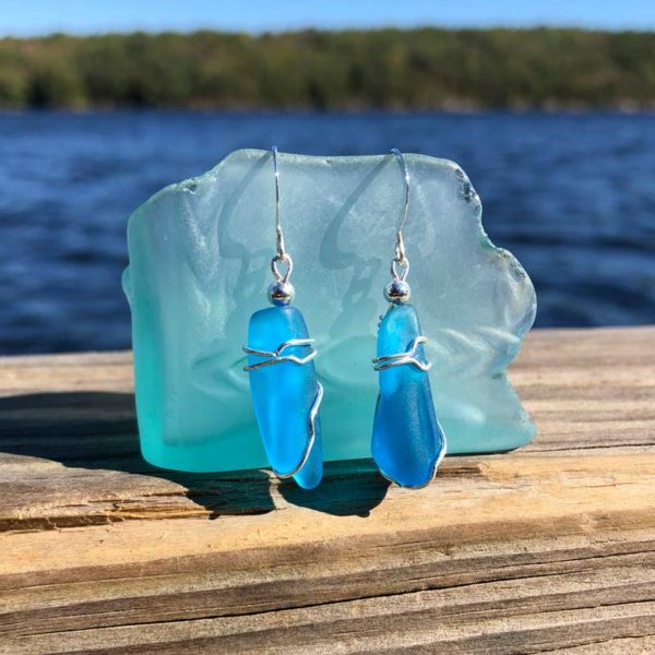 Teal Sea Glass Earrings