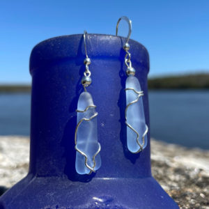 Light Blue Sea Glass Earrings