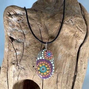 Purple & Peach Fireworks Beach Stone Necklace