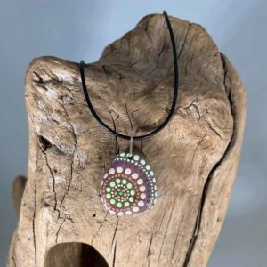 Pink Lime Fireworks Beach Stone Necklace