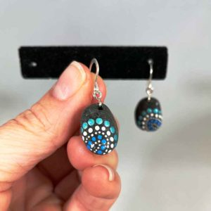 Blue Fireworks Beach Stone Earrings