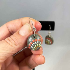 Apricot Dot Beach Stone Earrings