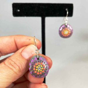 Purple Peach Pop Beach Stone Earrings