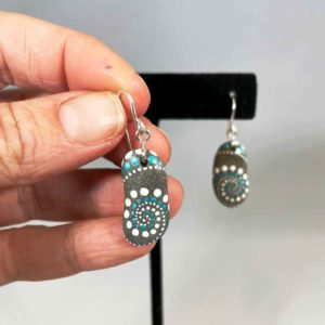Teal White Wave Beach Stone Earrings