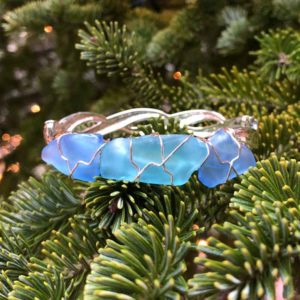 Light Blue & Light Teal Sea Glass Bracelet