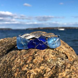 Light Blue & Blue Sea Glass Bracelet