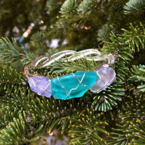 Lavender & Teal Sea Glass Bracelet