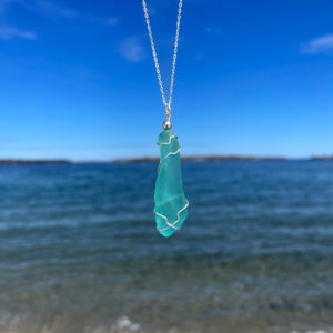 Teal Sea Glass Necklace