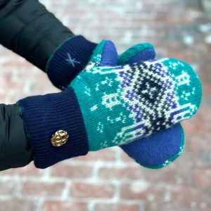 Teal & Blue Sweater Mittens