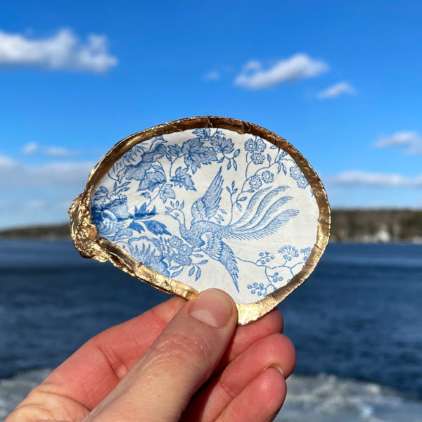 Blue Chintz Oyster Shell Ring Dish