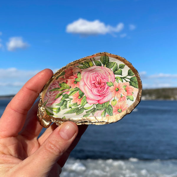 Rose & Coreopsis Oyster Shell Ring Dish