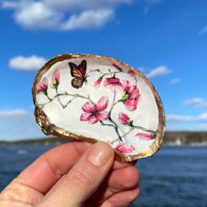 Monarch & Cherry Blossoms Oyster Shell Ring Dish