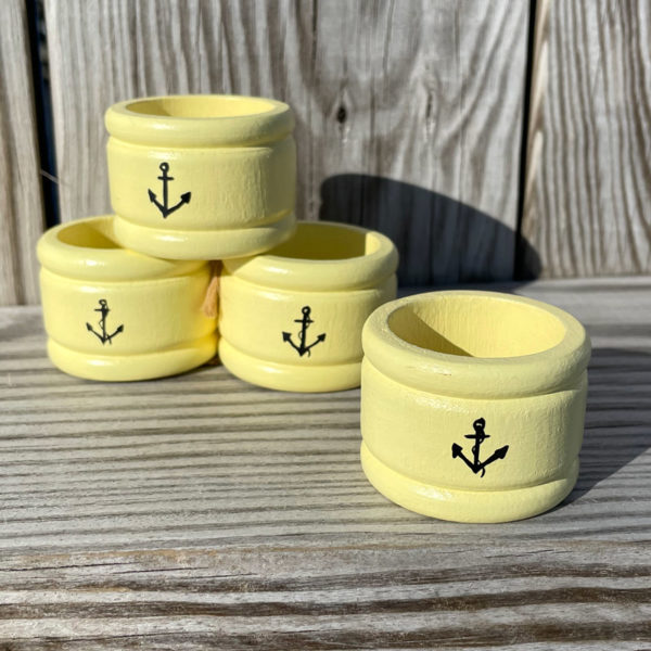 Hand Painted Napkin Rings - Black Anchor on Yellow