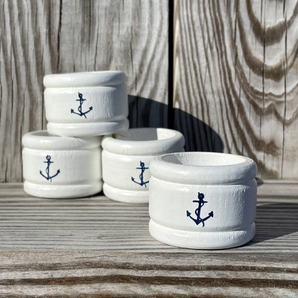 Hand Painted Napkin Rings - Blue Anchor