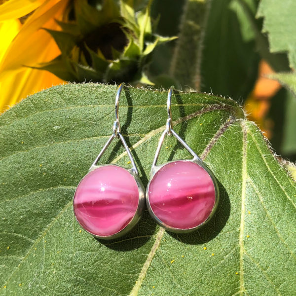 Cerise Glass Earrings