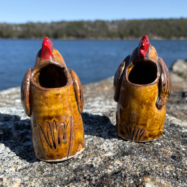 Chicken Bud Vase by Westport Island Pottery