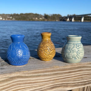 Carved Tiny Vase by Westport Island Pottery
