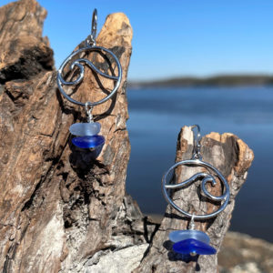 Light Blue & Cobalt Blue Sea Glass Stack Wave Earrings