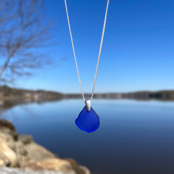 Sue's Signature Sea Glass Necklace - Cobalt Blue