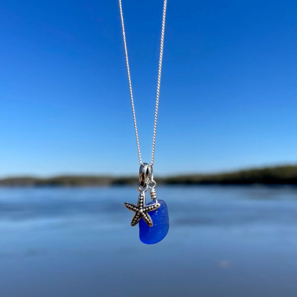 Blue Sea Glass with Tiny Starfish Necklace