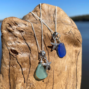 Sea Glass with Tiny Starfish Necklace