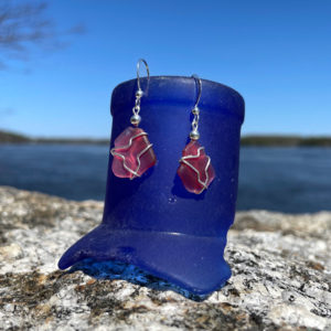 Pink Sea Glass Earrings